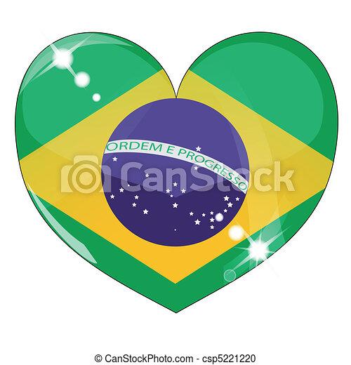 Vector heart with brazil  flag texture - csp5221220