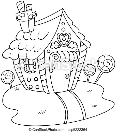 Line Art Gingerbread House - csp5222364