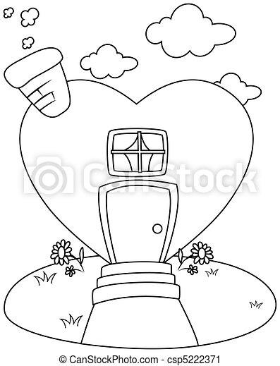 clipart de ligne art forme coeur maison ligne art illustration csp5222371. Black Bedroom Furniture Sets. Home Design Ideas