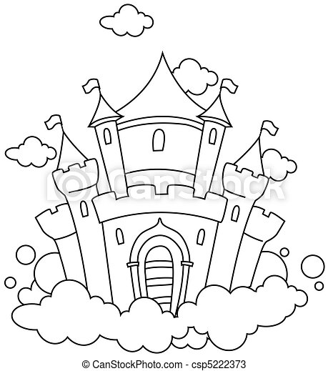 Line Art Barn Castle - csp5222373