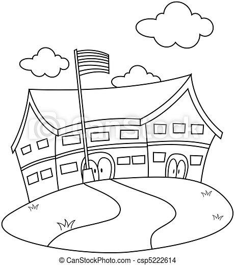 School Drawing Line Art School Csp5222614