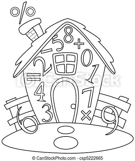 Line Art Math House - csp5222665