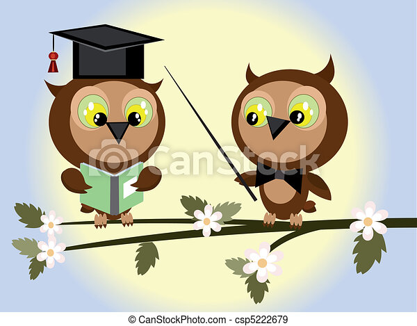 Two Owls On Branch Clip Art EPS Vectors of T...