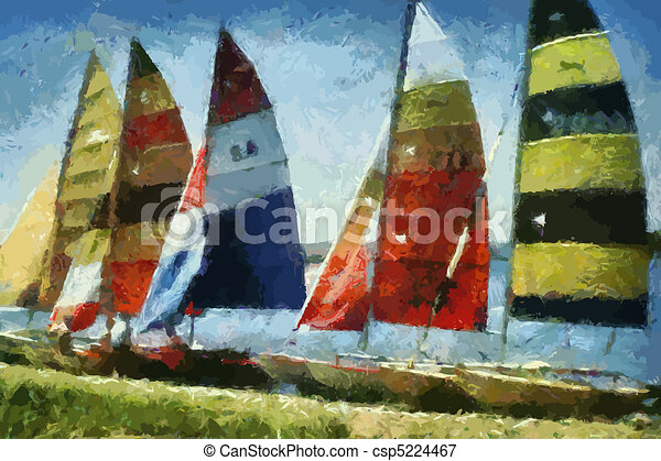 Catamarans Painting (Vector) - csp5224467