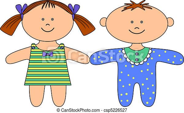 Ilustraciones vectoriales de trapo, Muñecas, niño, niña - juguetes ...