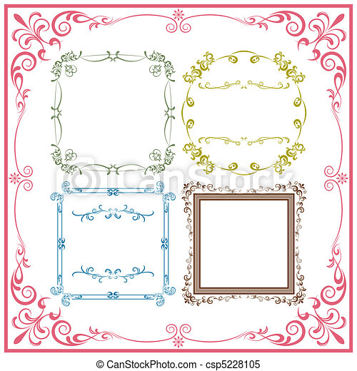 Abstract retro frame elements set - csp5228105