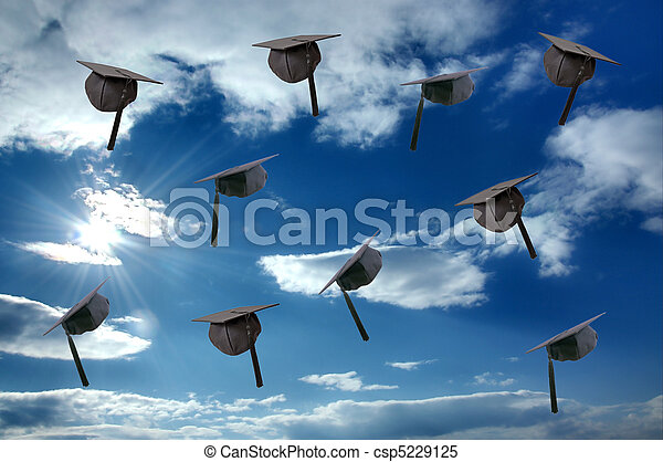 Student graduation hat over sunny sky - csp5229125