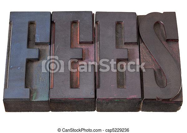 fees - word in letterpress type - csp5229236