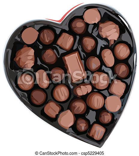 Box of Chocolates in a Heart Shape Vector Illustrator - csp5229405
