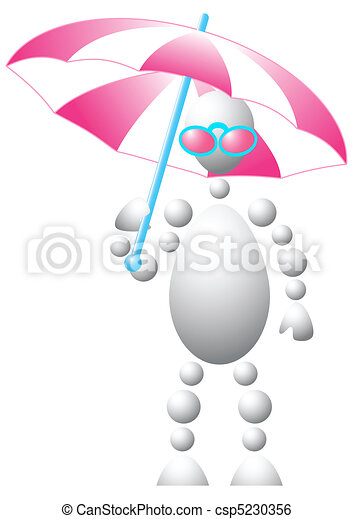 Man in pink sun-glasses with umbrella - csp5230356