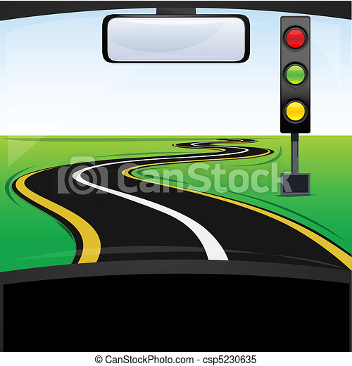 clip art vector of traffic signal with car on road - illustration
