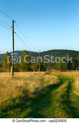 green ground rural road near power lines - csp5230935