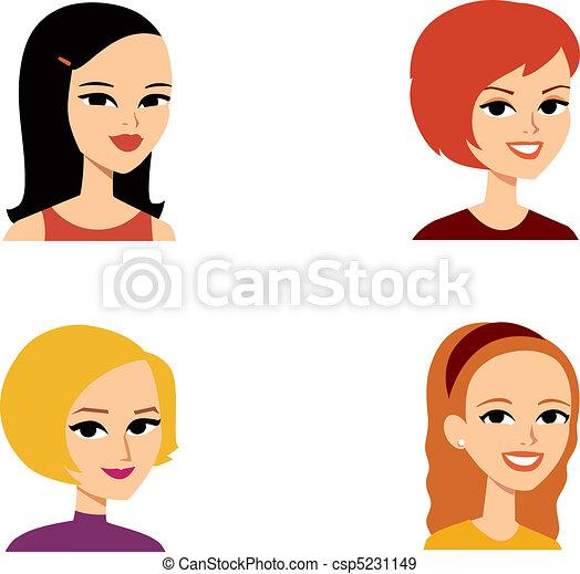 eps vectors of avatar portrait woman series   set of 4