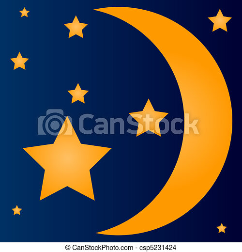 Drawing Of Simple Crescent Moon And Stars Yellow
