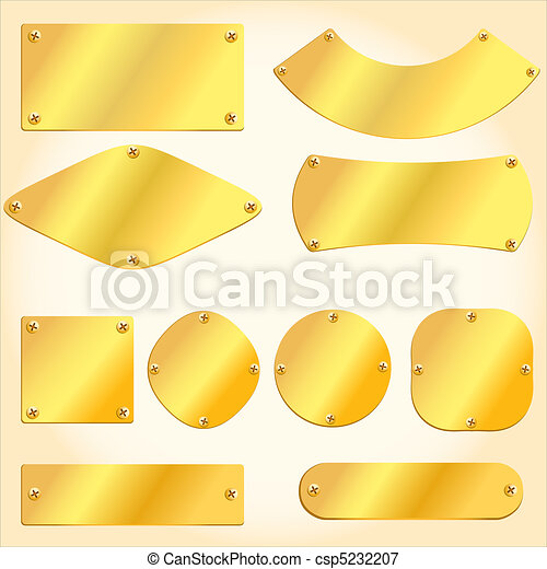 Old golden plates and signboards - csp5232207