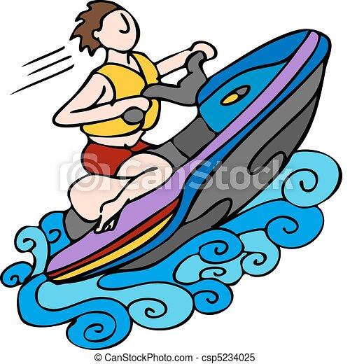 Vecteur clipart de jet ski une image homme quitation jet ski csp5234025 recherchez - Jet ski dessin ...