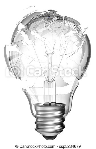 Making mistake. Smashed lightbulb isolated - csp5234679