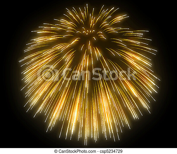 Yellow festive fireworks at night - csp5234729