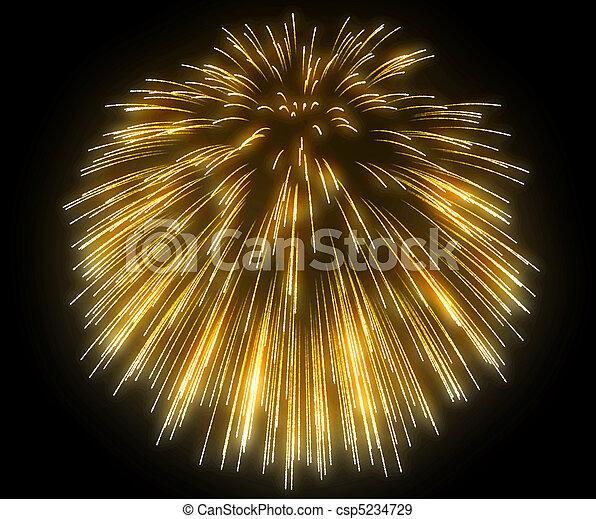 Yellow festive fireworks at night - csp5234729
