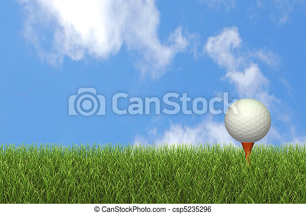 Image of a golf ball on a tee against a blue sky.
