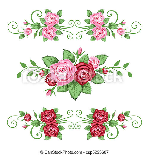 Ilustraciones vectoriales de rosas, banderas, Colección - bandera ...
