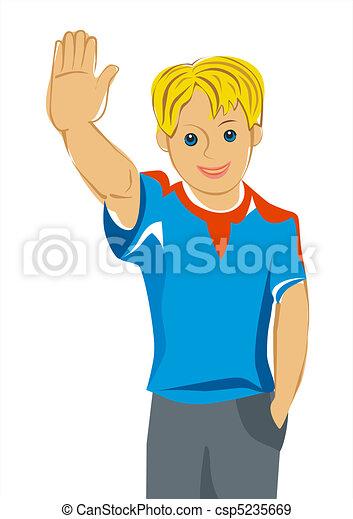 vector, teen boy with blue eyes greet you - csp5235669