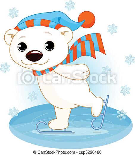 Polar bear on ice skates - csp5236466