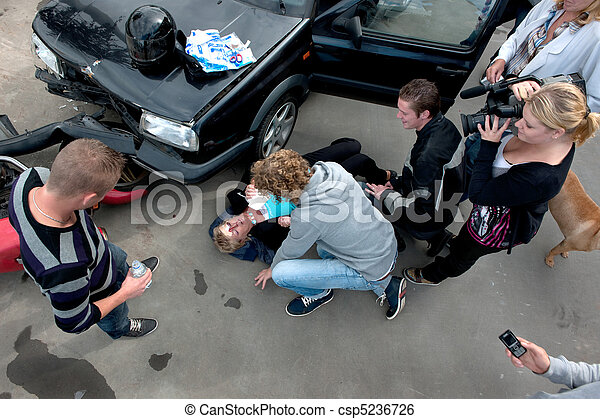 Chaotic scene at a car crash - csp5236726
