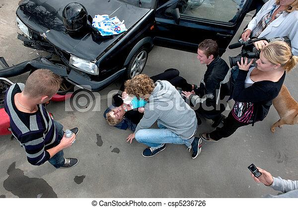Chaotic scene at a car crash - csp5236726