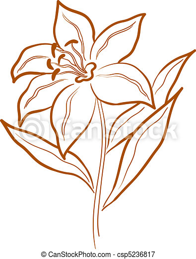 Flower lily, pictogram - csp5236817
