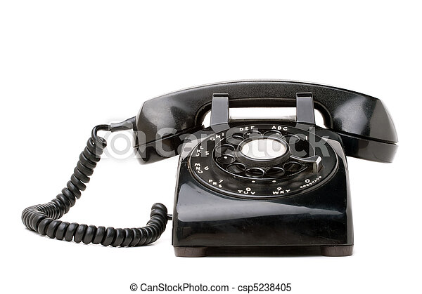 Old Black Retro Telephone - csp5238405