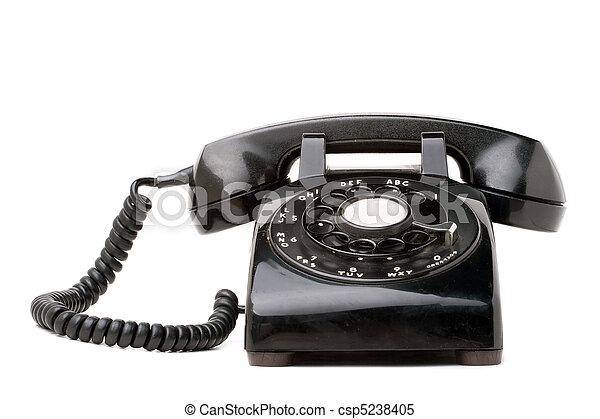 Old Black Retro Telephone - csp5238405