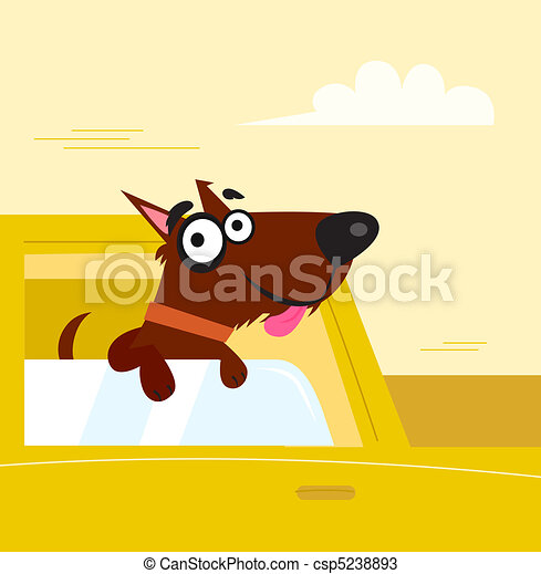 Happy brown dog travel in the car - csp5238893