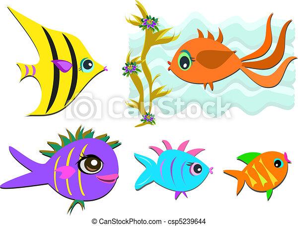 Un dibujos de peces Con colores  Imagui