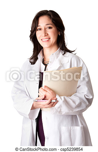 Female doctor physician with chart - csp5239854