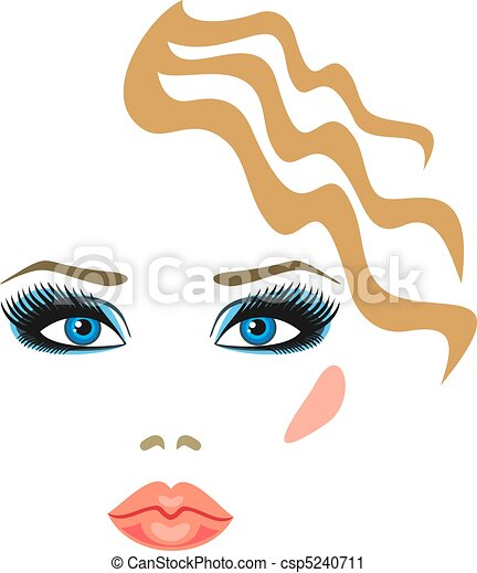 makeup with eye shadow and lipstick - csp5240711