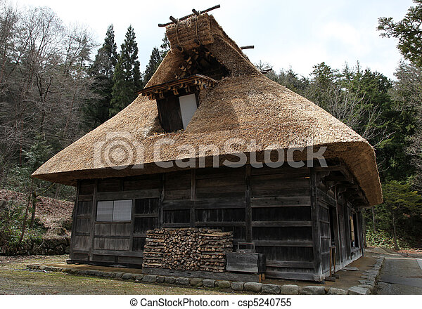Traditional thatched wooden hut in Takayama Japan. - csp5240755