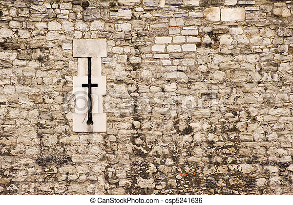 Medieval castle wall arrow slit background texture - csp5241636