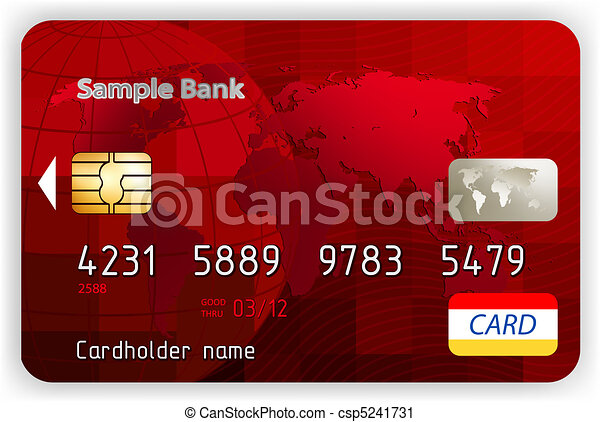 Vector red credit cards, front view. EPS 8 - csp5241731