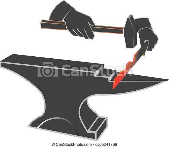 clip art vecteur de forge enclume forge et enclume