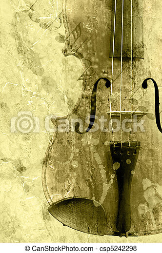 grunge music background with old fiddle - csp5242298
