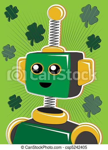 Green St. Patrick Robot Portrait wi - csp5242405