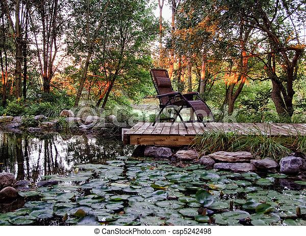 Residential landscaped garden - csp5242498