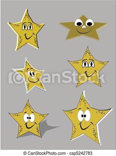 Estrellas de mar, en,  3D, en, caricatura, estilo - csp5242783