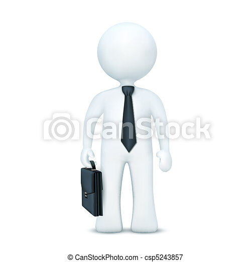 3d character with suitcase and wearing tie standing - csp5243857