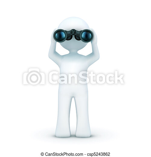 3d character looking through binoculars - csp5243862