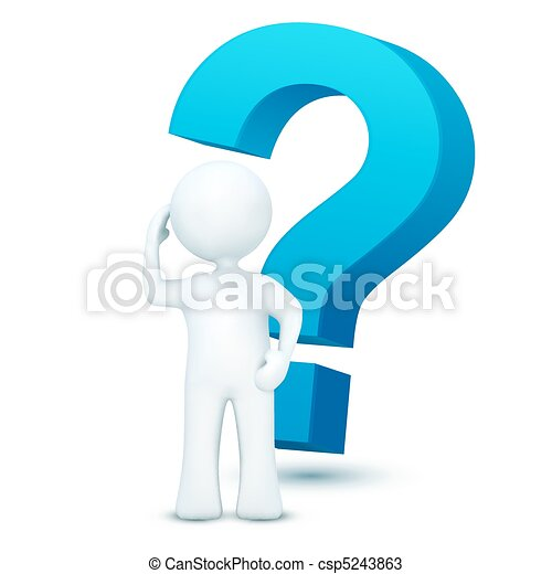 3d character with question mark - csp5243863