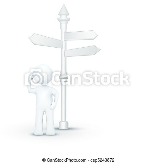 confused 3d character standing under direction board - csp5243872