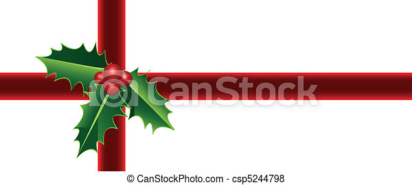 Christmas gift, holly wrapping - csp5244798
