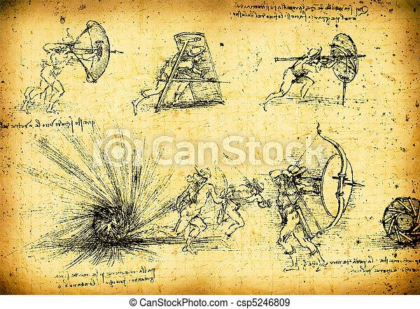 Leonardo's Da Vinci engineering drawing - csp5246809